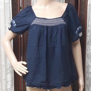American Eagle Outfitter Embroidered Blue Blouse
